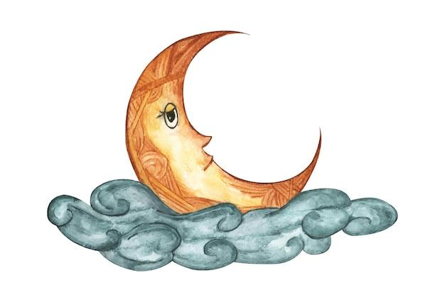 Lua crescente na nuvem. ilustração em aquarela.