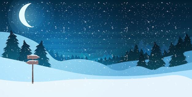 Lua crescente no céu estrelado brilhante noite pinhal feliz ano novo feliz natal feriado celebração conceito