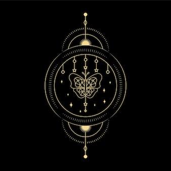 Lua de cristal de onda de sol e geometria sagrada para design de tatuagem de leitor de cartão de tarô de orientação espiritual