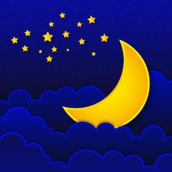 Lua de ilustração retrô desejando boa noite. vetor eps10.