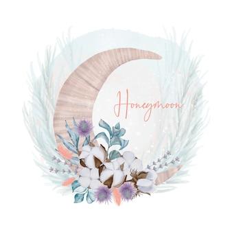 Lua de mel com flores de algodão