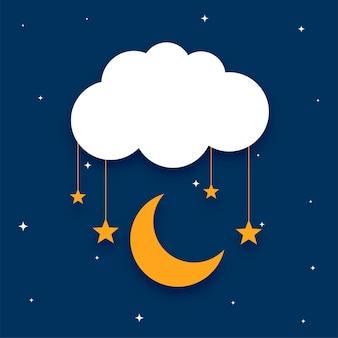 Lua de nuvem em estilo de papel e fundo de estrelas