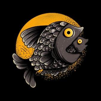 Lua de peixe para ilustração de pôster e vestuário