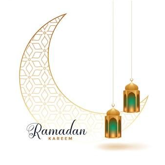 Lua decorativa de ramadan kareem com lâmpadas de suspensão