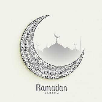 Lua decorativa de ramadan kareem sobre fundo branco