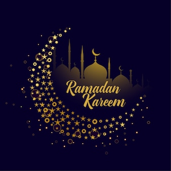 Lua decorativa design ramadan kareem fundo