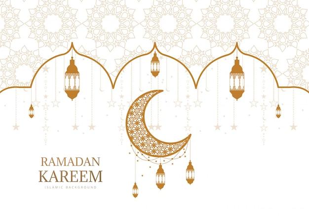 Lua decorativa do ramadã kareem com fundo de cartão de lâmpadas de suspensão