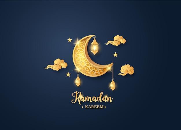Lua dourada brilhante com lanterna pendurada, cartão de ramadan kareem, corte de papel