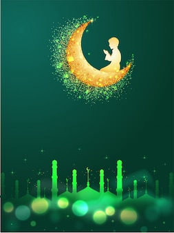 Lua dourada e menino islâmico oferecendo namaz