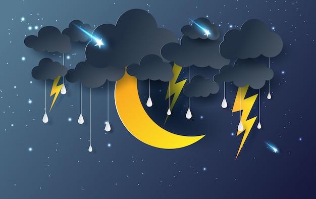 Lua e estrela com chuva mística céu noturno