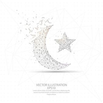 Lua e estrela desenhada digitalmente
