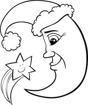 Lua e estrela natal para colorir