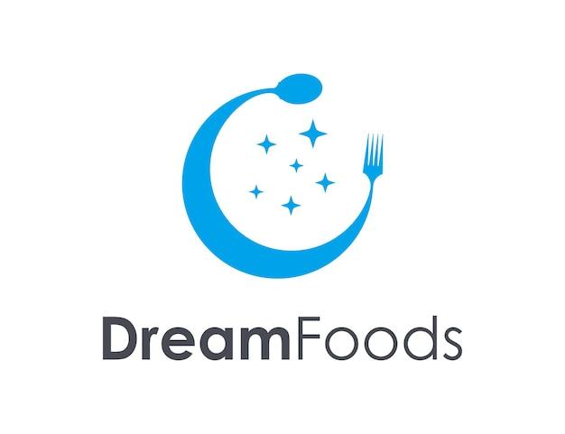 Lua e estrelas com colher e garfo simples, elegante, criativo, geométrico, moderno, logotipo, design