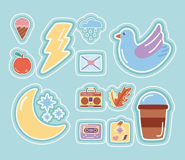Lua e estrelas com ícones de estilo plano de adesivos definidos.