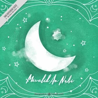 Lua e estrelas de fundo e celebração da mawlid