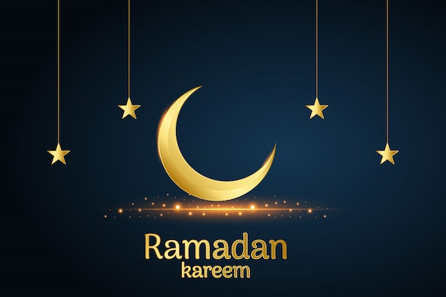 Lua e estrelas islâmicas douradas ramadan kareem escritas com fundo preto