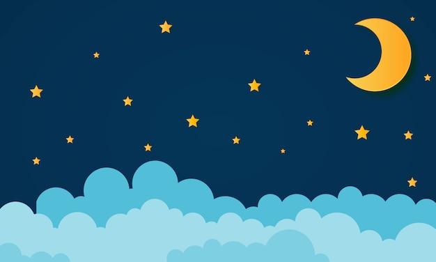 Lua e estrelas na paisagem da meia-noite