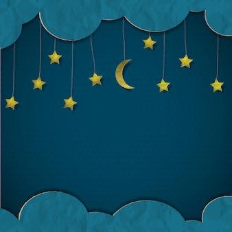 Lua e estrelas. papel-arte vetorial