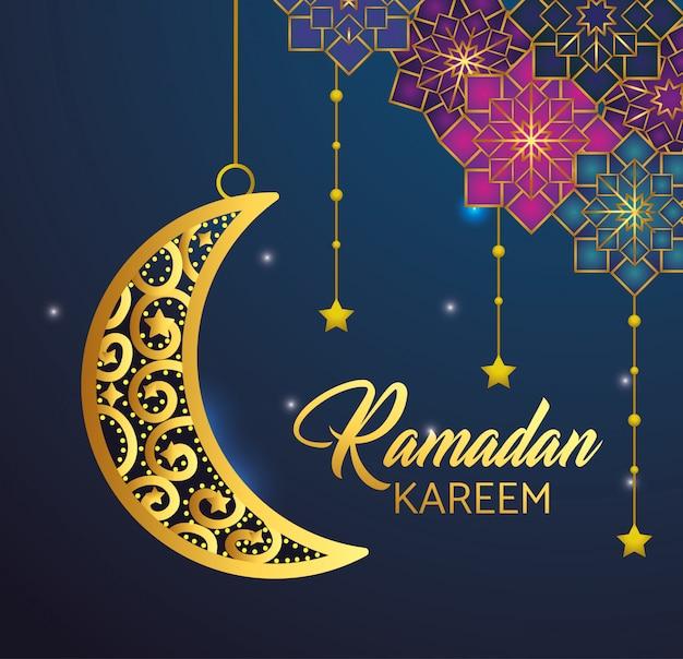 Lua e estrelas penduradas para ramadan kareem