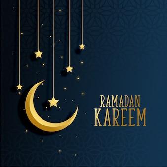 Lua e estrelas ramadan kareem fundo