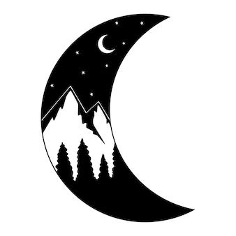 Lua e montanhas picos das montanhas, cenário, céu noturno com estrelas