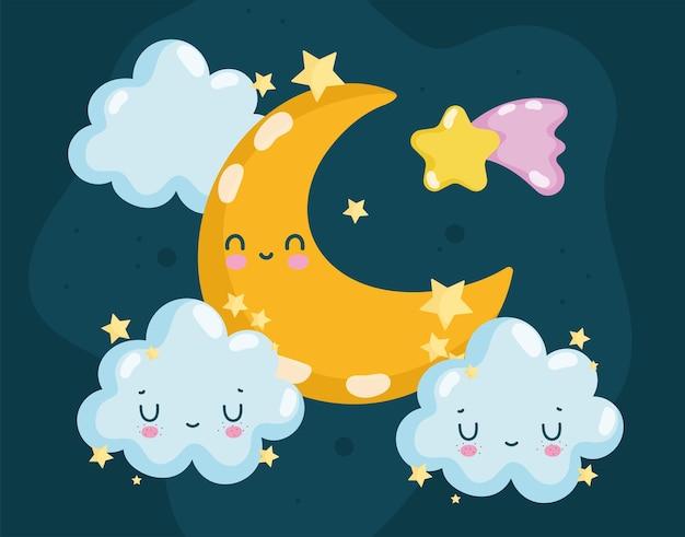 Lua e nuvens de desenho animado