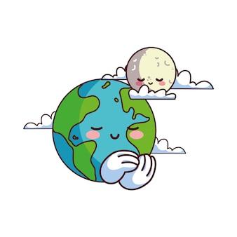 Lua e terra felizes acompanhadas
