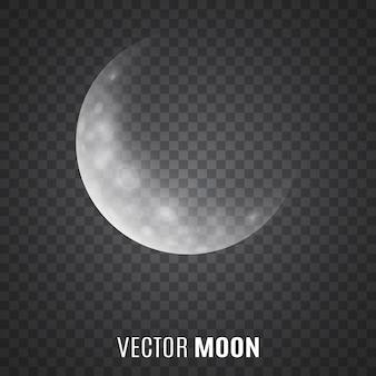 Lua em fundo transparente. luar. crescente.