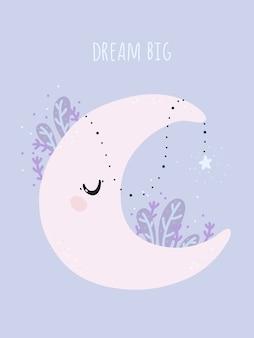 Lua fofa com estrela roxa