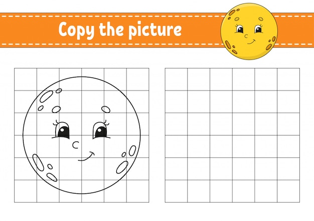Lua fofa. copie a imagem. páginas do livro de colorir para crianças. planilha de desenvolvimento de educação.