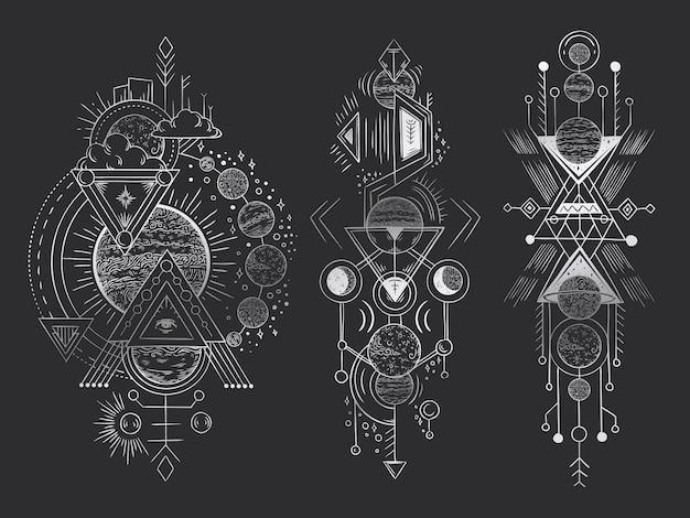 Lua geométrica sagrada, linhas de setas de revelação mística e harmonia de misticismo mão ilustrações desenhadas