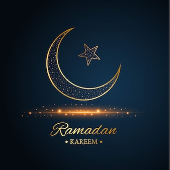 Lua islâmica dourada e estrela ramadan kareem, escrita com fundo azul escuro e preto