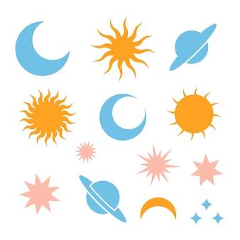 Lua lua eclipse estrelas saturno e sol silhueta ícones sinal simples de dia e noite celestial