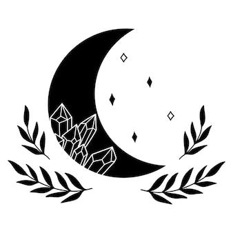Lua mística com estrelas de cristal deixa cristais mágicos