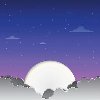 Lua na arte de papel do céu