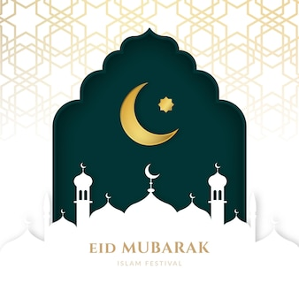 Lua no céu e mesquita realista eid mubarak