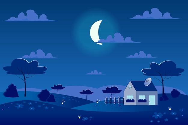 Lua no céu, na vila de primavera com paisagem de prados verdes em estilo cartoon plana