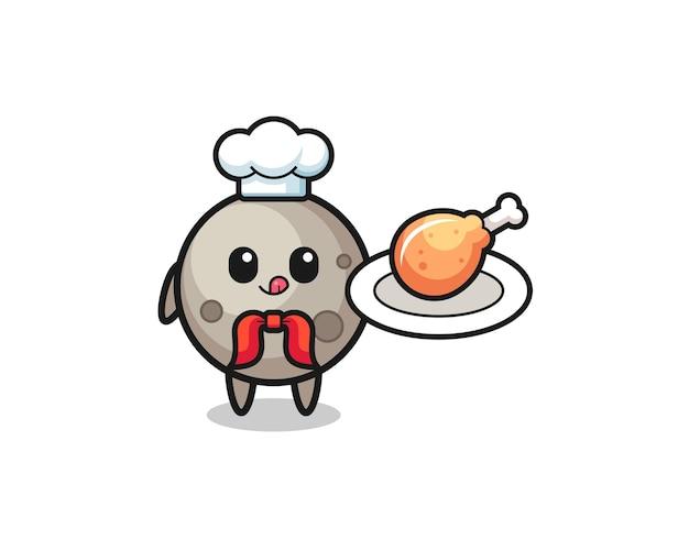 Lua personagem de desenho animado frango frito chef, design bonito