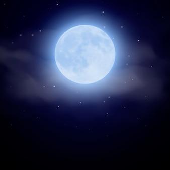 Lua se nevoeiro na ilustração de noite escura