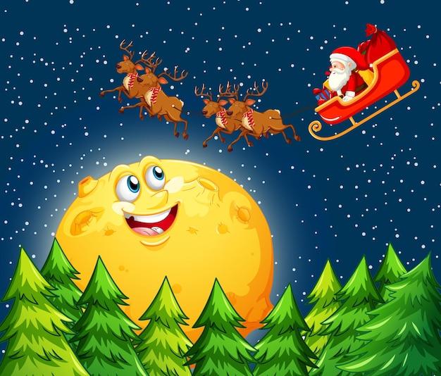 Lua sorridente no céu à noite com o papai noel no trenó