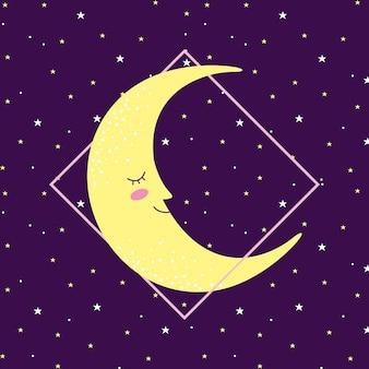 Lua sorrindo no espaço com estrelas
