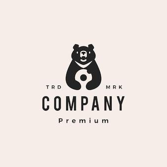 Lua urso preto donuts vietnam hipster logo vintage ilustração vetorial ícone