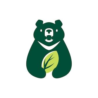 Lua urso preto folha natureza natural espaço negativo logotipo ilustração vetorial