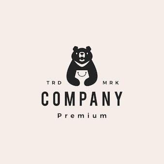 Lua urso preto vietnam loja sacola de compras hipster logotipo vintage ilustração vetorial ícone