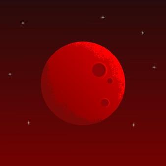 Lua vermelha com fundo do espaço
