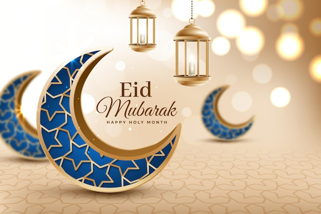 Luas azuis crescentes realista eid mubarak