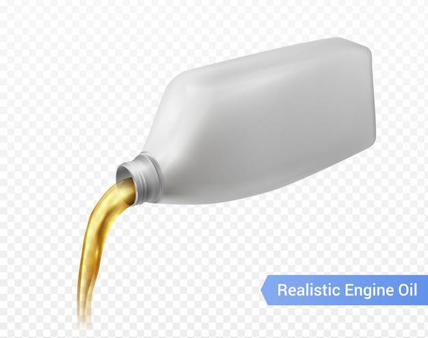 Lubrificante de óleo de motor de carro derramando de uma garrafa de plástico branca realista
