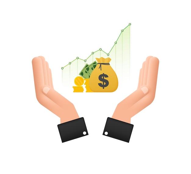 Lucre dinheiro ou ícone de orçamento nas mãos dinheiro e gráfico crescente seta conceito de sucesso empresarial
