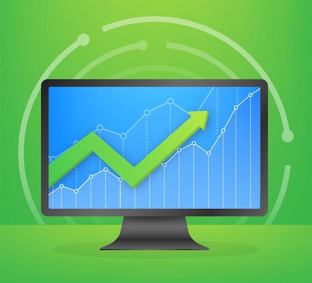 Lucre dinheiro ou orçamento. dinheiro e seta crescente do gráfico, conceito de sucesso nos negócios. lucro de capital, benefício. ilustração em vetor das ações.