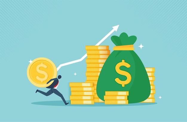 Lucre o conceito de crescimento financeiro de dinheiro com o conceito de moeda de ouro de coleção monetária ou estratégia